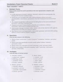 Vocabulary from Classical Roots Book B Tests